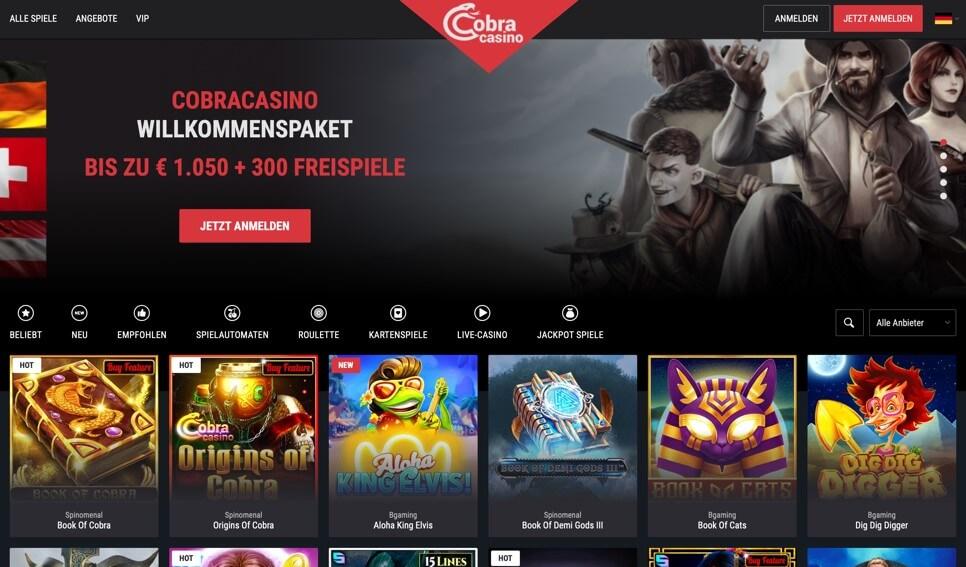 Cobra Casino Homepage aufrufen