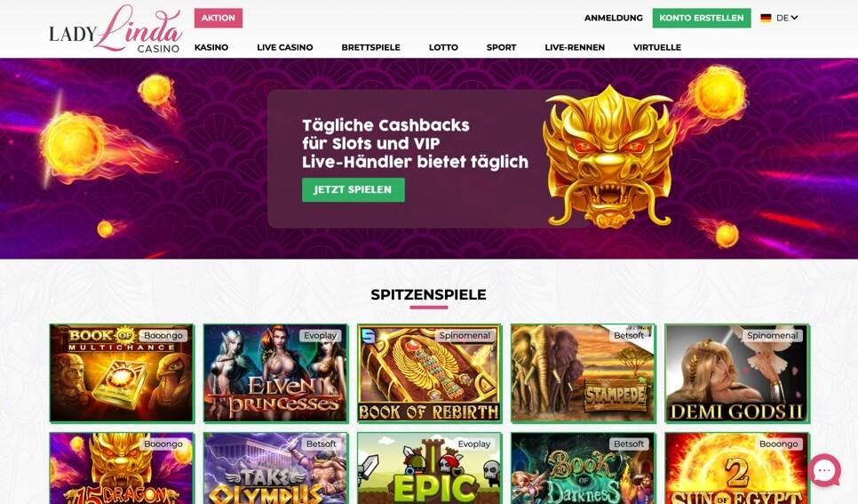 Lady Linda Casino - Homepage aufrufen