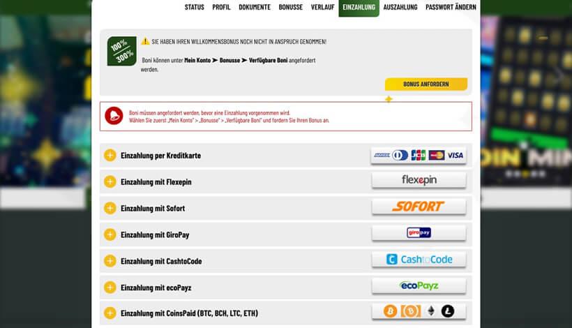 MaChance Casino Einzahlung