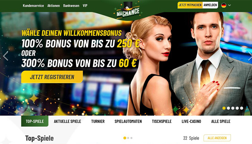 MaChance Casino Homepage