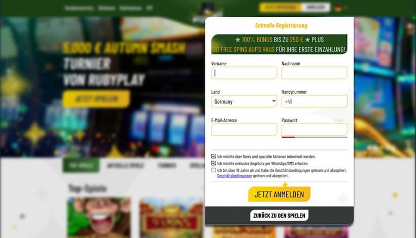 MaChance Casino Registrierungsformular