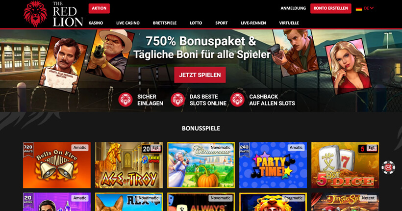 The Red Lion Casino Homepage