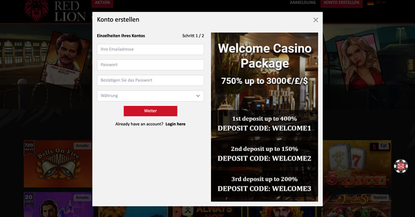 The Red Lion Casino Registrierungsformular
