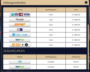 VegasPlus Zahlungsmethoden