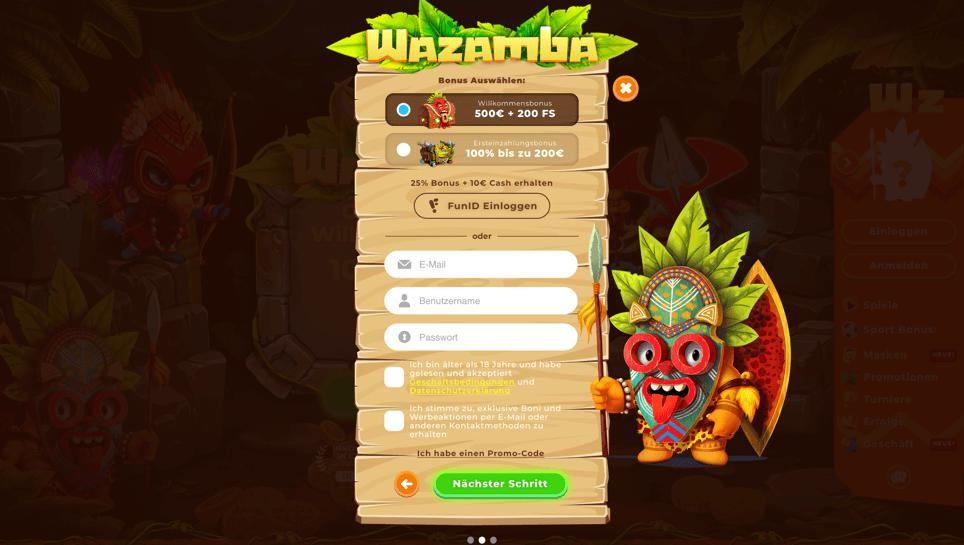 Wazamba Schritt Nr. 2 – Das Registrierungsformular ausfüllen