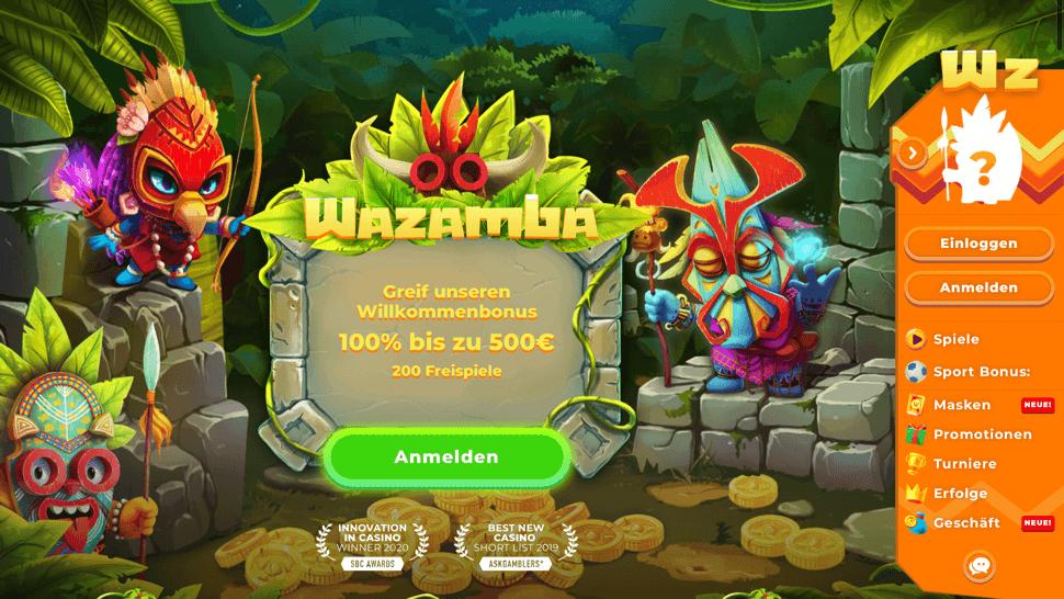 Wazamba Schritt Nr. 1 – Die Homepage aufrufen