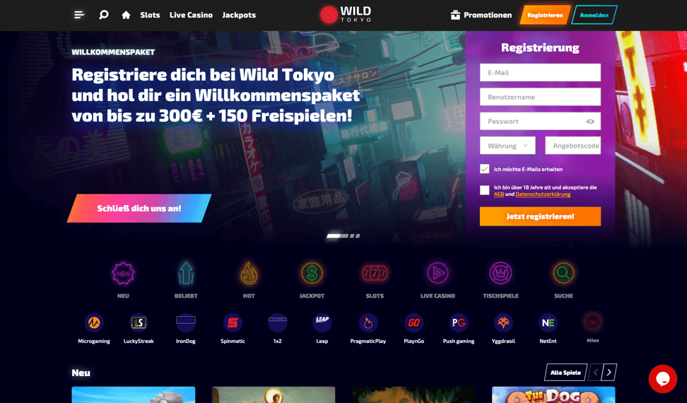Wild Tokyo Casino - Homepage aufrufen