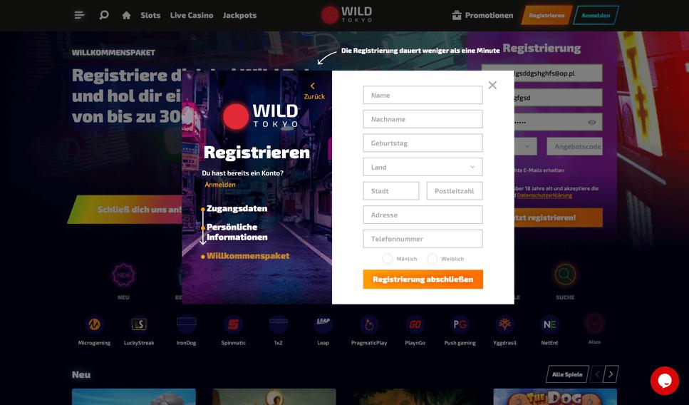 Wild Tokyo Casino - Registrierungsformular 2