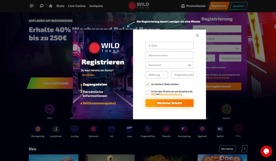 Wild Tokyo Casino - Registrierungsformular