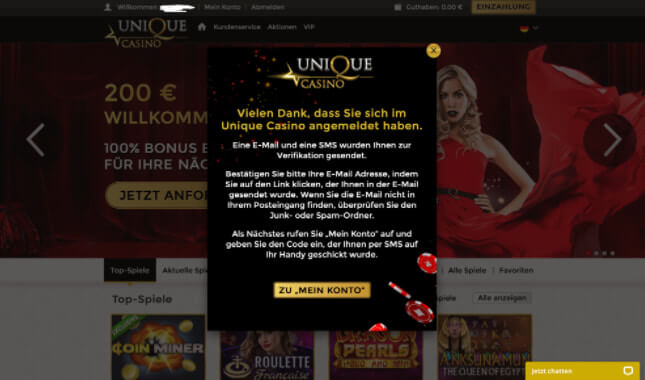unique casino registriert