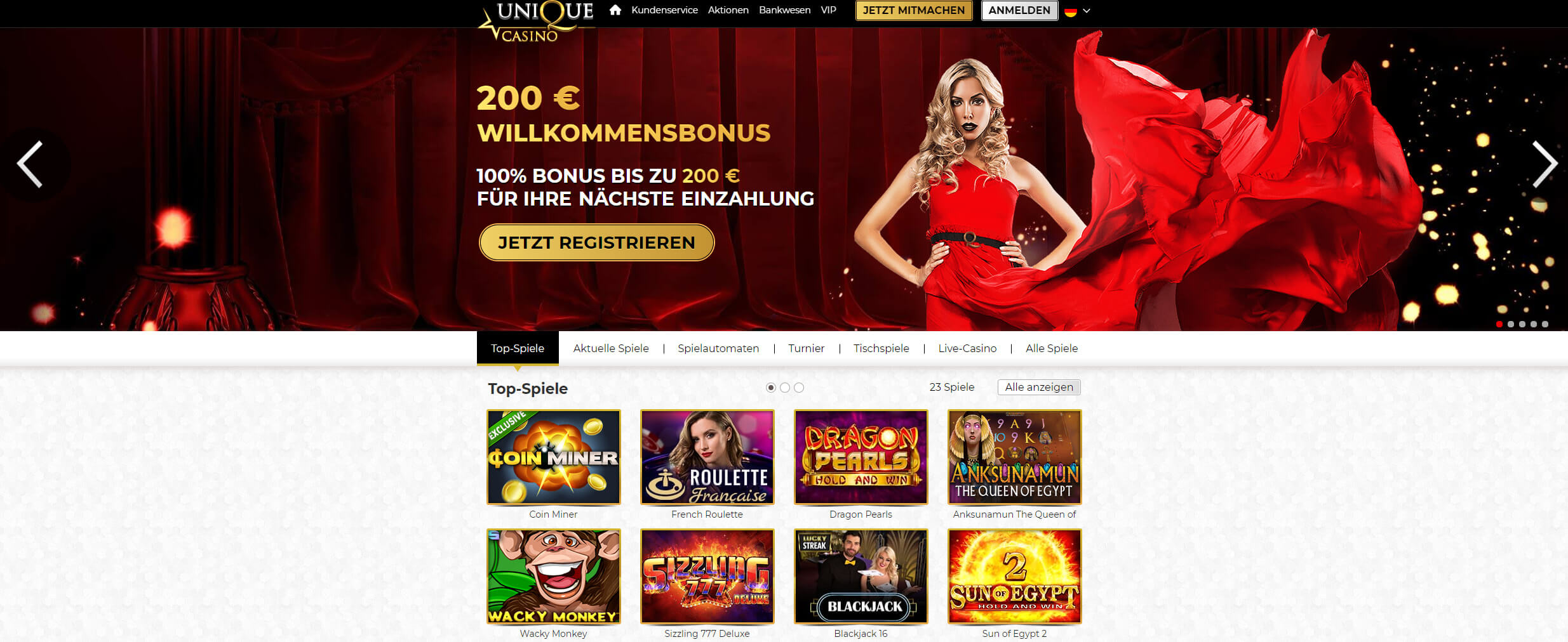 unique casino startseite